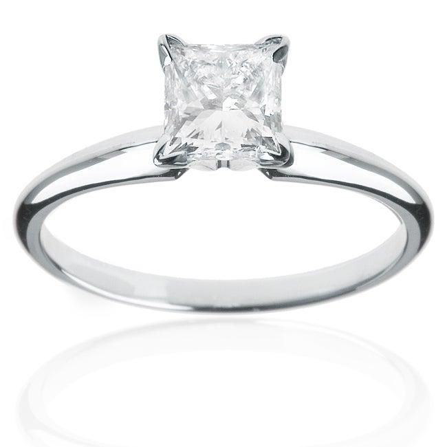 14k Gold 1ct TDW Princess Diamond Solitaire Engagement Ring (I-J, I1)
