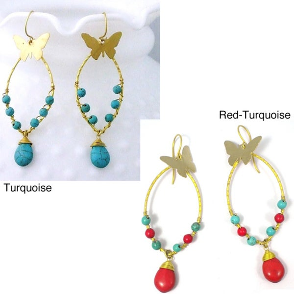 Brass Charming Butterfly Turquoise Drop Earrings (Thailand)