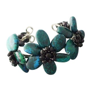 Blue Malachite and Onyx Triple Floral Stone Adjustable Cuff (Thailand)