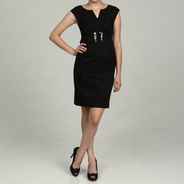 Eliza J Petite V-neck Bleted Waist Dress