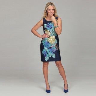 Eliza J Women's Navy Floral Print Bead Embellished Dress FINAL SALE