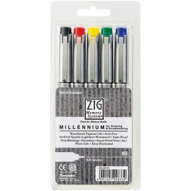 Zig Memory System Millennium Assorted Color Markers (Pack of 5)