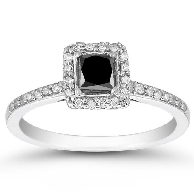 10k White Gold 3/4ct TDW Black and White Diamond Halo Ring (I-J, I1-I2)