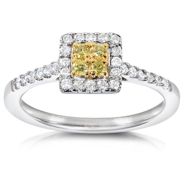 Annello 14k Gold 1/3ct TDW Yellow and White Diamond Halo Ring (H-I, I1-I2)