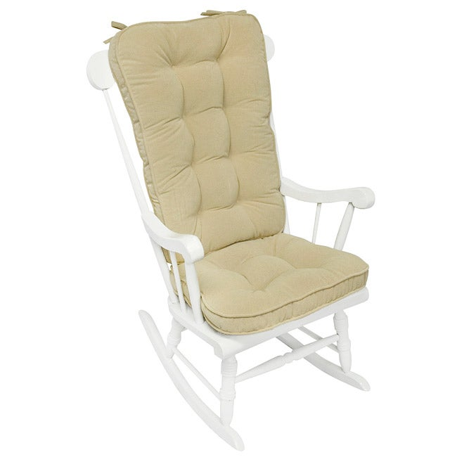 Cream Microfiber Reversible Rocking Chair Jumbo-size Cushion Set