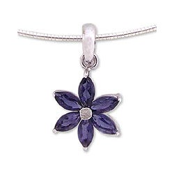 Sterling Silver 'Ocean Daisy' Iolite Necklace (India)