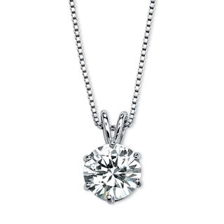 """PalmBeach 3 TCW Round Solitaire Cubic Zirconia Necklace in Platinum over .925 Sterling Silver 18"""" Classic CZ"""