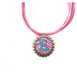 Hot Pink Stripes Monogram Bottle Cap Necklace