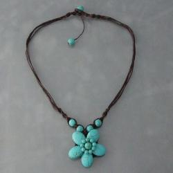 Cotton Rope Charming Reconstructed Turquoise Flower Necklace (Thailand)