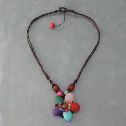 Cotton Rope Charming Multi-gemstone Flower Necklace (Thailand)