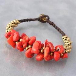 Brass Beads and Gemstone Boho Jingle Bell Bracelet (Thailand)