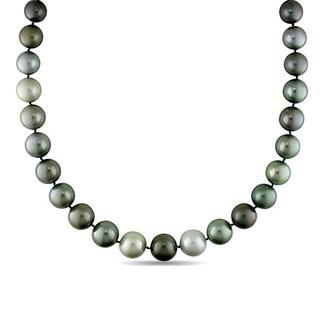 Miadora Signature Collection Black Tahitian Pearl and Diamond Accent Necklace (12.2-15.4 mm)