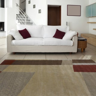 Hand-knotted Brown Contemporary Thornbury Wool Abstract Rug (9' x 13')