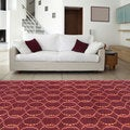 Hand-knotted Red Rust Contemporary Scrolls Wool Geometric Rug (9' x 13')