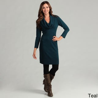 Connected Apparel Women's Cowlneck Sweater Dress