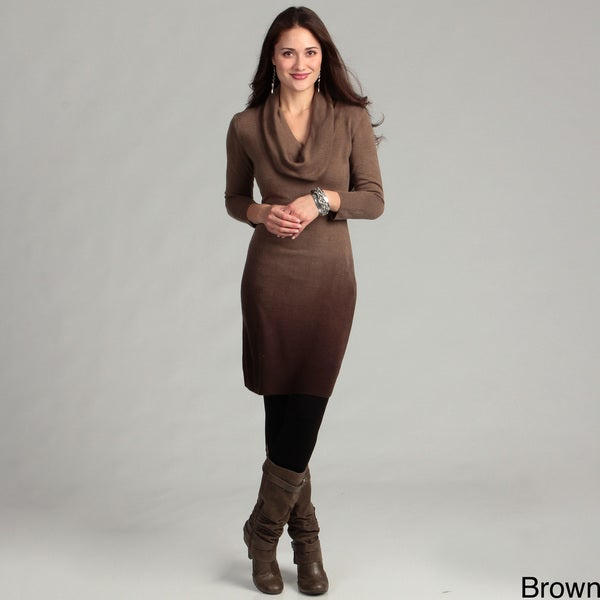 Connected Apparel Women's Ombre Cowlneck Sweater Dress