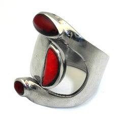 Alpaca Silver Bloodstone Wrap Ring (Mexico)