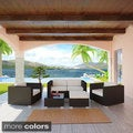 Malibu Collection 5-Piece Wicker Rattan Outdoor Sectional Set with Cushions