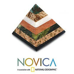 Handcrafted Multi-gemstone 'Be Positive' Pyramid Sculpture (Peru)