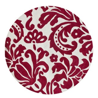nuLOOM Hand-tufted Pino Tribal Damask Red Rug (6' Round)