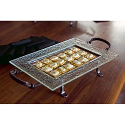 Rectangular Textured Glass Serving Platter and Iron Stand