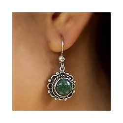 Handcrafted Sterling Silver 'Antigua Sun' Jade Earrings (Guatemala)
