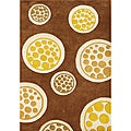 Alliyah Handmade New Zeeland Blend  Hand-tufted  Circles Brown Rug (8' x 10')