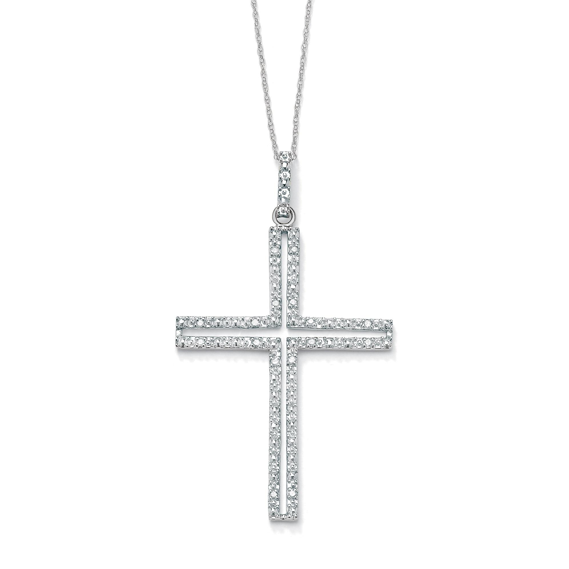 """PalmBeach 1/10 TCW Round Diamond Platinum over Sterling Silver Religious Cross Pendant and Rope Chain 18"""""""