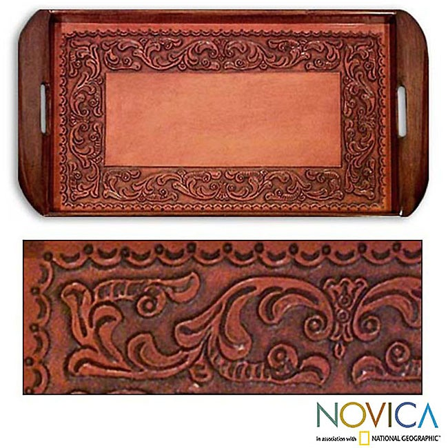 Handcrafted Tooled Leather 'Spanish Ivy' Serving Tray (Peru)