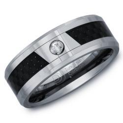 Tungsten Men's Diamond Accent Carbon Fiber Inlay Band