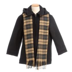 Brian Mathews Boy's Charcoal Wool-blend Hooded Coat