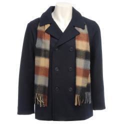 Trilogi Boy's Navy Wool-blend Hooded Peacoat