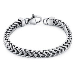Stainless Steel Men's 8.5-inch Square Wheat Link Bracelet