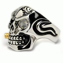 Oliveti Stainless Steel Cubic Zirconia Skull and Bullet Ring