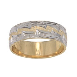 14k Two-tone Gold Mountain Edge Design Easy-fit Wedding Band
