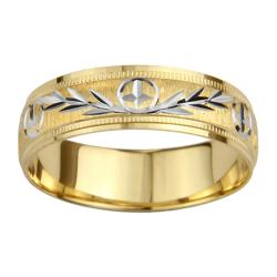 14k Gold Women's Milligrain Cross and Leaf Design Wedding Band