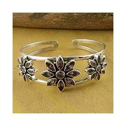 Sterling Silver 'Three Blossoms' Amethyst Cuff Bracelet (India)
