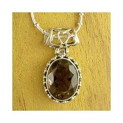 Sterling Silver 'Elegant Mystique' Smoky Quartz Necklace (India)