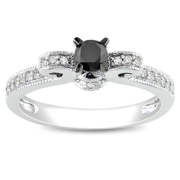 Miadora 10k Gold 1/2ct TDW Black and White Diamond Engagement Ring (G-H, I2)