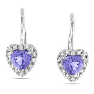 Miadora 10k White Gold Tanzanite and 1/6ct TDW Diamond Earrings (G-H, I2)