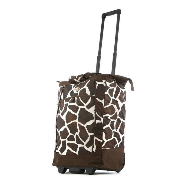 Olympia 20-inch Giraffe-print Top-loading Rolling Shopper Tote