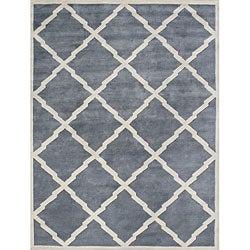 Alliyah Handmade Bluish-Grey New Zealand Blend Wool Rug (10' x 12')