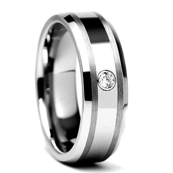 Tungsten Carbide Diamond Accent Ring (7 mm)
