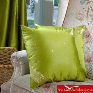 Set of Two Sari Fabric Decorative Pillow Covers (India)