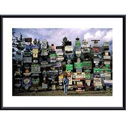 John K. Nakata 'Sign Post Forest' Metal Framed Print Art