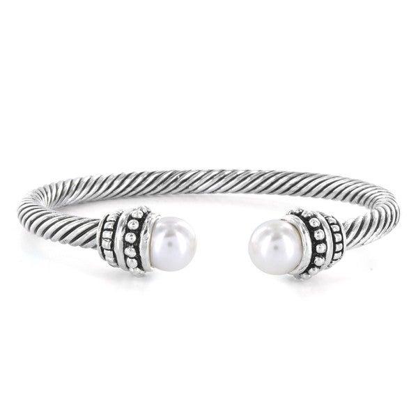 West Coast Jewelry Silverplated Created Pearl Cuff Bracelet