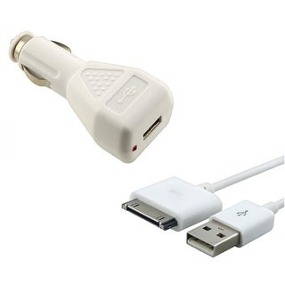 INSTEN USB Data Cable/ Car Charger Adapter for Apple iPhone