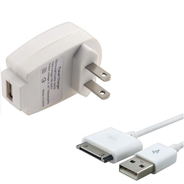 INSTEN White USB Cable/ Compact Travel Charger Adapter for Apple iPhone