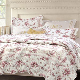 Shabby Chic Vintage Rose Cotton Full/ Queen-size 3-piece Quilt Set