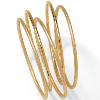 PalmBeach 5 Piece Bangle Bracelet Set in Textured and Polished Yellow Gold Tone Tailored